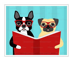 384d dog art print boston terrier and pug reading book wall