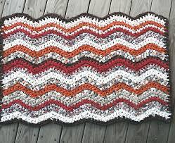 crocheted chevron rag rug handmade zig zag recycled fabrics vintage