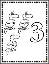 Disegno Di Numero 3 Tre Pappagalli Da Colorare Disegni Da