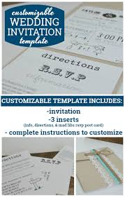 Wedding Card Template Mesmerizing Customizable Wedding Invitation Template With Inserts