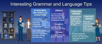 language and grammar tips for resumes interviews and new jobs grammar and language infographic