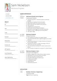 Mechanical Engineer Resume Beauteous Mechanical Engineer CV Examples And Template