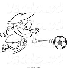 Small Picture Vector of a Cartoon Boy Kicking a Soccer Ball Coloring Page