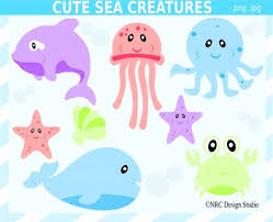 cute sea animals clipart.  Animals Sea Creatures Clipart Commercial Use Inside Cute Animals Clipart