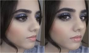 easy navy blue silver glitter indian stani weddings eid prom makeup tutorial you