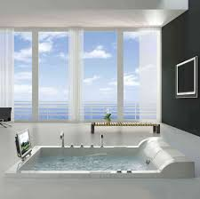 ... Bathtubs Idea, Amusing Corner Jet Tub Bathroom Ikea With Bench And  Monitor And Tv And ...