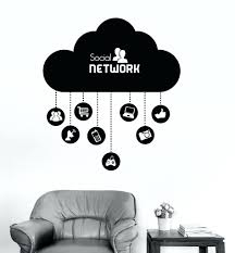 what is wall decal vinyl wall decal cloud social network computer  technology it vinyl wall decal