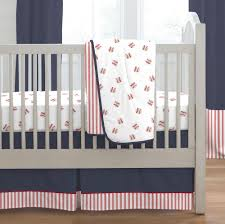 red and navy baseball 3 piece crib bedding set