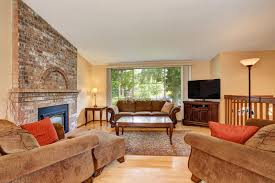 cozy living room with tv. Download Cozy Living Room Interior With Tv Set, Brick Fireplace And Rug. Stock Image O