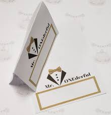 Tux Mr Onederfull Food Tent Cards Treat Cards Place Cards