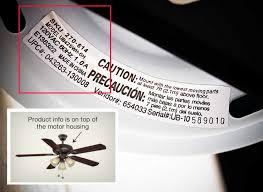 ceiling fan identification number