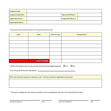 Employment Emergency Contact Form Volunteer Contact Form Template