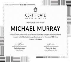 Free Formal Certificate Of Appreciation Template Editable