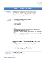 Impressive Resume For Cosmetologist Student In Sample Resume For
