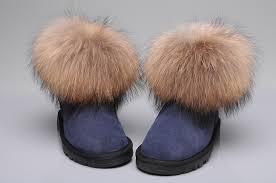 ... UGG Fox Fur Mini Boots 5854 Navy ...