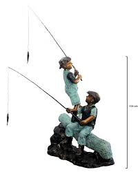 2 boys on a log with fishing rods garden statue