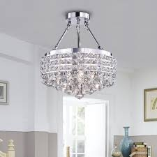 drum round shade chrome 4 light crystal semi flush mount chandelier ceiling fixture