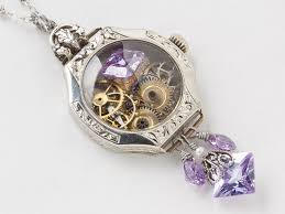 steampunk necklace 14k white gold filled watch case gears dragonfly pendant lilac amethyst crystal pearl statement necklace