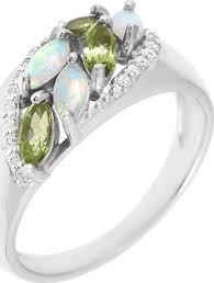 <b>Кольцо</b> Balex Jewellery, серебро 925, опал, <b>хризолит</b>, фианит ...