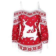 Forthery Women Christmas Shirt Clearance Ugly Elk Print Vintage Off Shoulder Tunic Tops