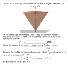the volume v of a right circular cone is a functio chegg com the volume v of a right circular cone is a functio