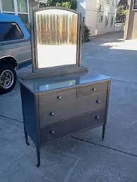 vtg 1940 50s simmons furniture metal medical. 1930\u0027s Simmons Raw Steel Metal Dresser Vanity W/ Mirror Stripped Clear Coat VTG Vtg 1940 50s Furniture Medical M