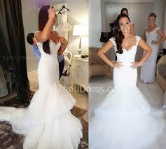elegant lace v neck wedding dresses with fishtail open back tulle