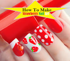 Make Strawberry Nails Art - ( 7 Easy Steps Tutorial PICTURES & VIDEO)