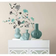 blossom watercolor bird branch peel and stick wall decals