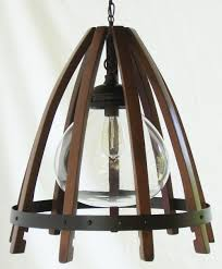 medusa recycled oak wine barrel staves hoop hanging pendant light ceiling lamp with glass shade