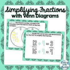 Venn Diagram Fractions Simplifying Fractions With Venn Diagrams By Learn With Leila Tpt