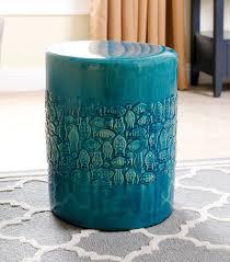 bali teal ceramic garden stool