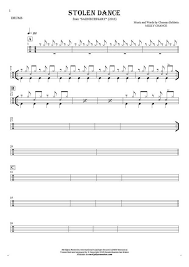 drums sheet music stolen dance notes for drum kit playyournotes