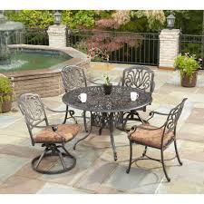 fl blossom 48 in round 5 piece patio dining set with burnt