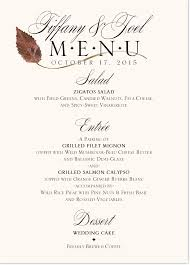 Autumn Dinner Menus Autumn Ironwood Wispy Leaf Fall Wedding Menu Cards And Fall Dinner