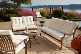 patio furniture white. Best Patio Design Using Cast Aluminum Furniture: White Upholstered Furniture Chair