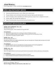 Restaurant Waitress Resume By Jesse Kendall ...