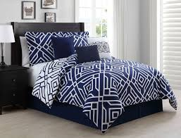 11 Piece Queen Carter Navy/White Reversible Bed in a Bag Set ...