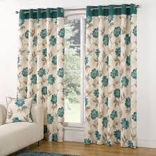 Turquoise Curtains For Living Room Modern Casa Floral Trail Print Lined Eyelet Curtains Teal Teal