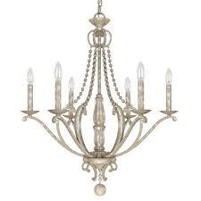 adele silver quartz six light chandelier with wood bead