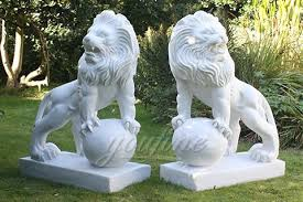 outdoor garden stone marble lion statue for front porch mawl 07