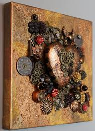 assemblage art on canvas curly