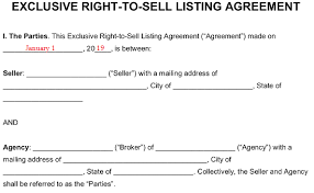 A sales agreement legally documents the purchase and sale of goods. Exclusive Right To Sell Listing Agreement Template Eforms