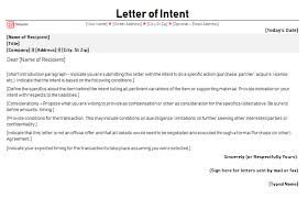 Free Letter Of Intent Sample Letters Of Intent Templates