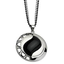 stainless steel black onyx pendant 24 inch chain necklace charm natural stone fashion jewelry for women gift set