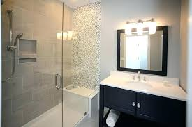 amazing mosaic tile bathroom shower tub transitional with accent wall tiles open shelf glass and bathtub