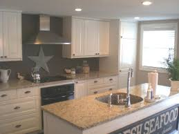 Kitchen Paint Colors With White Cabinets, Hood And Center Island