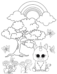 unicorn in the enchanted forest beanie boo coloring page