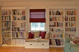 Interior:Contemporary Style Home Library Decor With Open Built In Book  Shelves Also Small Bay