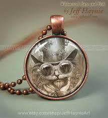 steam punk cat necklace steampunk cat pendant necklace resin pendant black cat jewelry black cat cat lover by jeffhaynieart